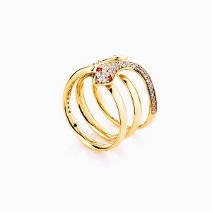 انگشتر طلا 18 عیار زنانه فانتزی نگین دار اتمی مدل انگشتر ماری کد RG0191