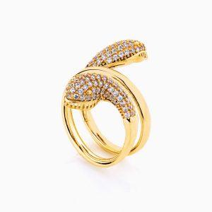 انگشتر طلا 18 عیار زنانه فانتزی نگین دار اتمی مدل انگشتر ماری کد RG0192