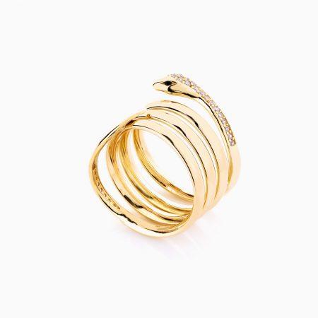 انگشتر طلا 18 عیار زنانه فانتزی نگین دار اتمی مدل انگشتر ماری کد RG0195