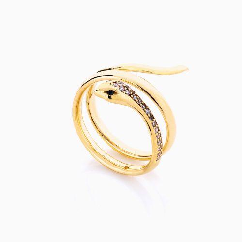 انگشتر طلا 18 عیار زنانه فانتزی نگین دار اتمی مدل انگشتر ماری کد RG0196