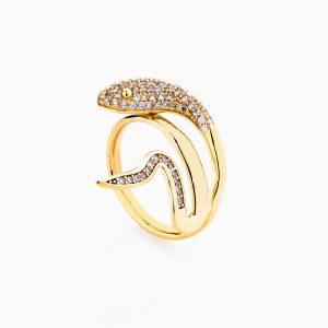 انگشتر طلا 18 عیار زنانه فانتزی نگین دار اتمی مدل انگشتر ماری کد RG0197