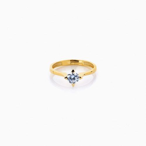 انگشتر طلا 18 عیار زنانه سولیتر نگین دار اتمی مدل پایه چنگکی ساده کد RG0198
