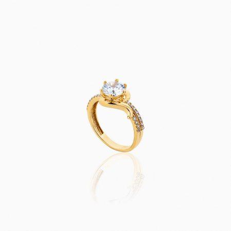 انگشتر طلا 18 عیار زنانه سولیتر اتمی مدل پایه چنگکی نگین دار کد RG0199