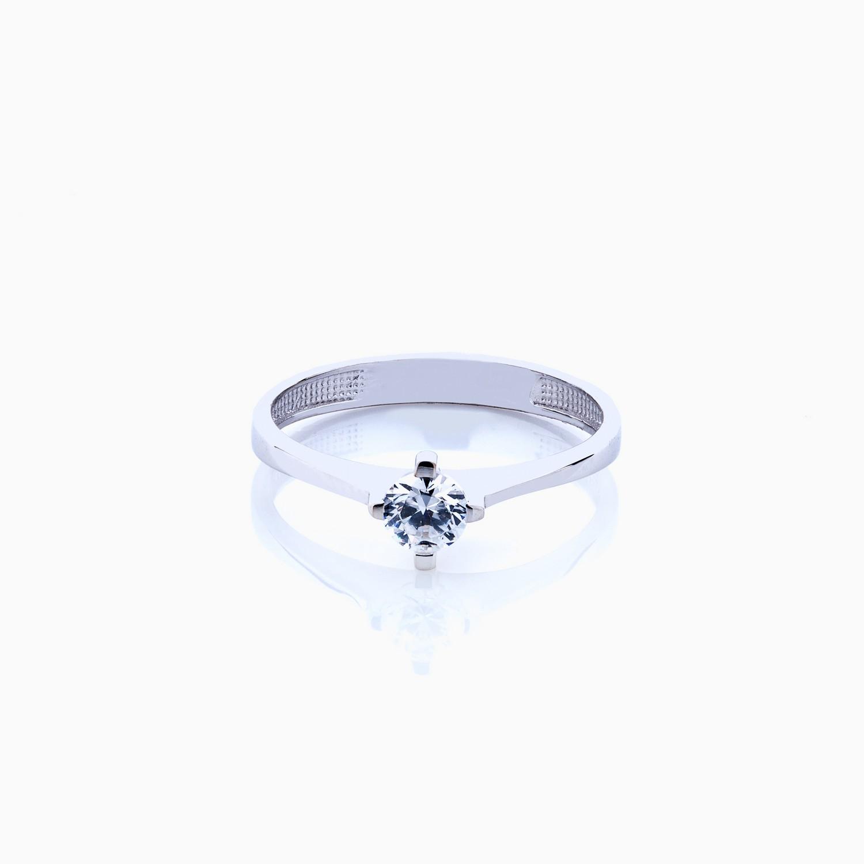 انگشتر طلا 18 عیار زنانه سولیتر نگین دار اتمی مدل پایه چنگکی ساده کد RG0200