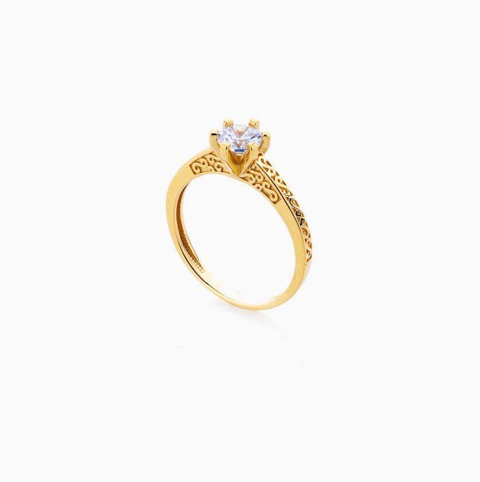 انگشتر طلا 18 عیار زنانه سولیتر نگین دار اتمی مدل پایه چنگکی طرح دار کد RG0205