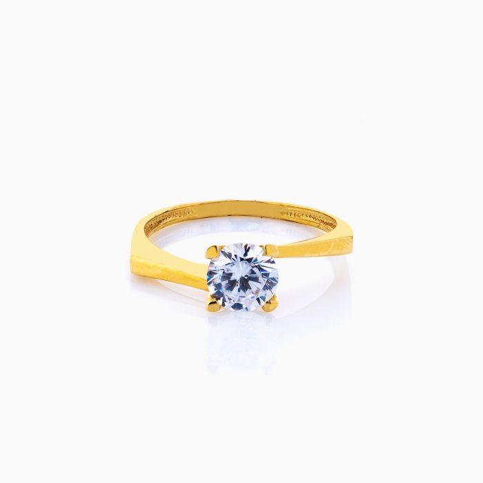 انگشتر طلا 18 عیار زنانه سولیتر نگین دار اتمی مدل پایه چنگکی ساده کد RG0207