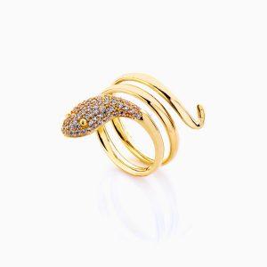 انگشتر طلا 18 عیار زنانه فانتزی نگین دار اتمی مدل انگشتر ماری کد RG0208