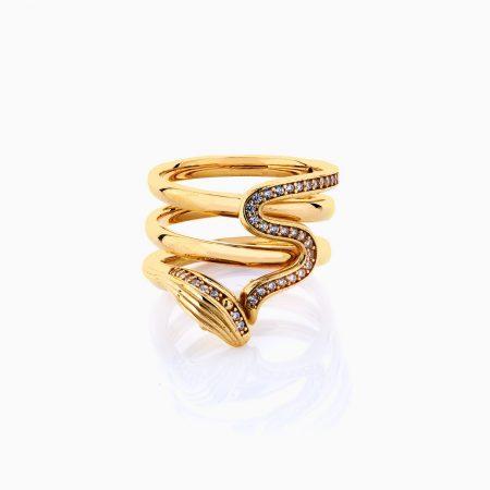 انگشتر طلا 18 عیار زنانه فانتزی نگین دار اتمی مدل انگشتر ماری کد RG0209