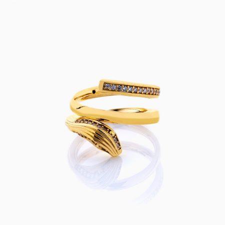 انگشتر طلا 18 عیار زنانه فانتزی نگین دار اتمی مدل انگشتر ماری کد RG0210