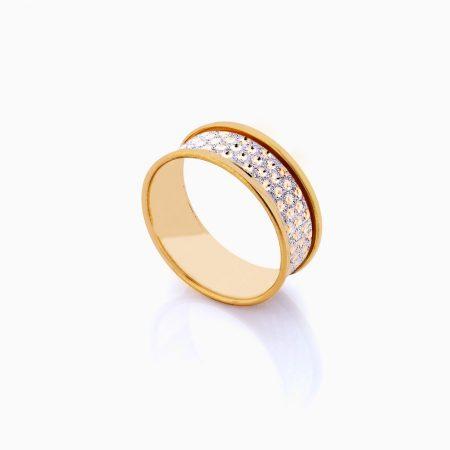 انگشتر طلا 18 عیار زنانه مدل رینگ تراش خورشیدی سفید و زرد کد RG0214