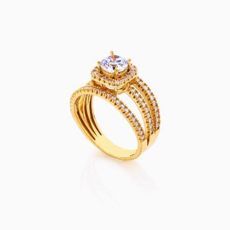 انگشتر طلا 18 عیار زنانه سولیتر اتمی حلقه پشت حلقه پایه مربعی کد RG0216