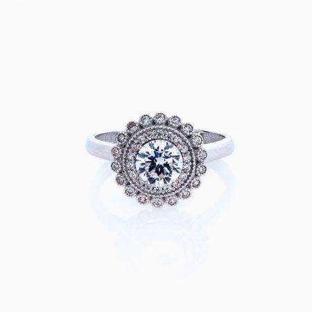 انگشتر طلا 18 عیار زنانه سولیتر نگین دار اتمی مدل گنبدی کد RG0220