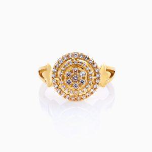 انگشتر طلا 18 عیار زنانه سولیتر نگین دار اتمی مدل گنبدی کد RG0221