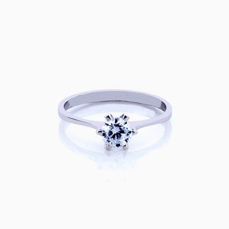 انگشتر طلا 18 عیار زنانه سولیتر نگین اتمی پایه چنگکی ساده کد RG0227