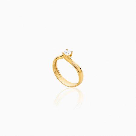 انگشتر طلا 18 عیار زنانه سولیتر با نگین اتمی مدل پایه چنگکی ساده کد RG0233