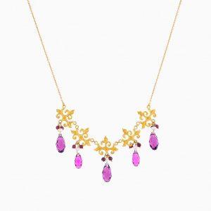 گردنبند طلا 18 عیار زنانه زنجیری با سنگ سواروسکی مدل آویز بنفش کد NL0111
