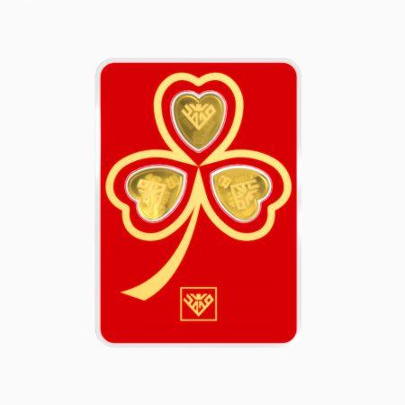 شمش طلا 24 عیار 1.5 گرمی قلب مدل گل شبدر