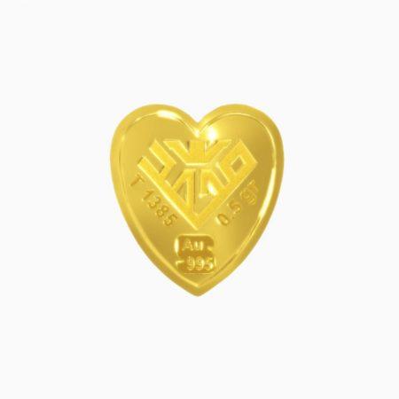 شمش طلا 24 عیار 2 گرمی قلب طرح پروانه