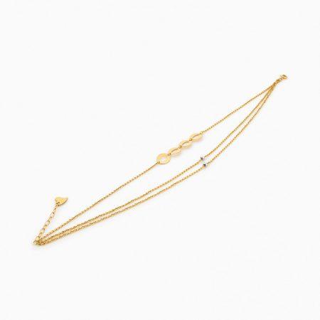 پابند طلا 18 عیار زنانه زنجیری مدل گوی و پولک طرح دار کد AL0039