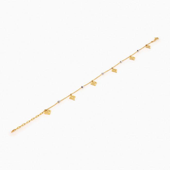 پابند طلا 18 عیار زنانه زنجیری مدل گوی و آویز طرح دار کد AL0054
