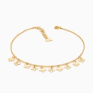 پابند طلا 18 عیار زنانه زنجیری مدل آویز گشنیز کد AL0055