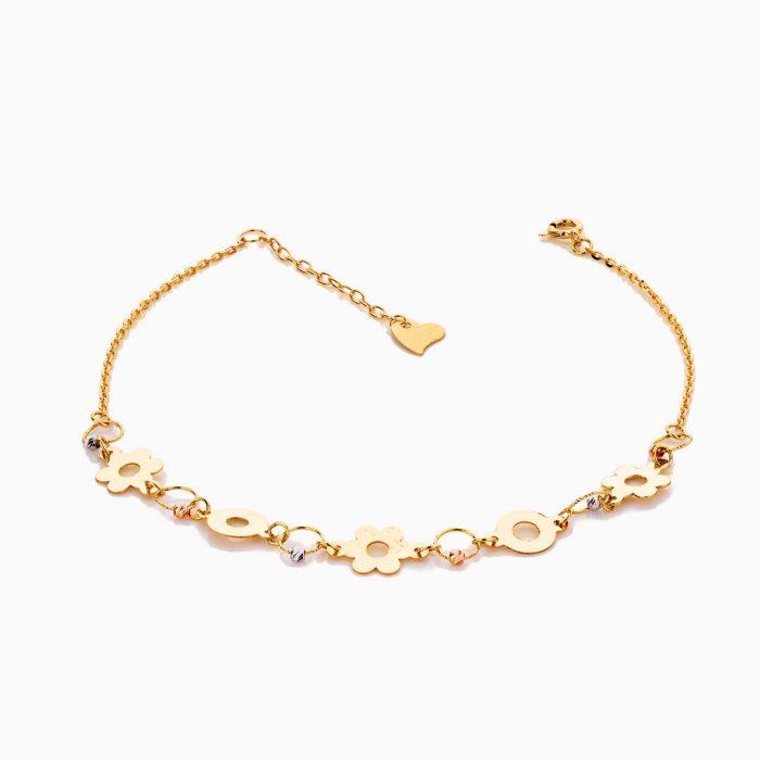 پابند طلا 18 عیار زنانه زنجیری مدل گوی و گل کد AL0058