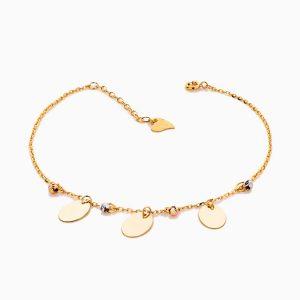پابند طلا 18 عیار زنانه زنجیری مدل گوی و آویز پولک کد AL0059