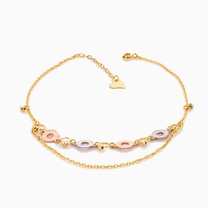 پابند طلا 18 عیار زنانه زنجیری مدل گوی و پولک طرح دار کد AL0060