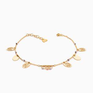 پابند طلا 18 عیار زنانه زنجیری مدل گوی و پولک طرح دار کد AL0061