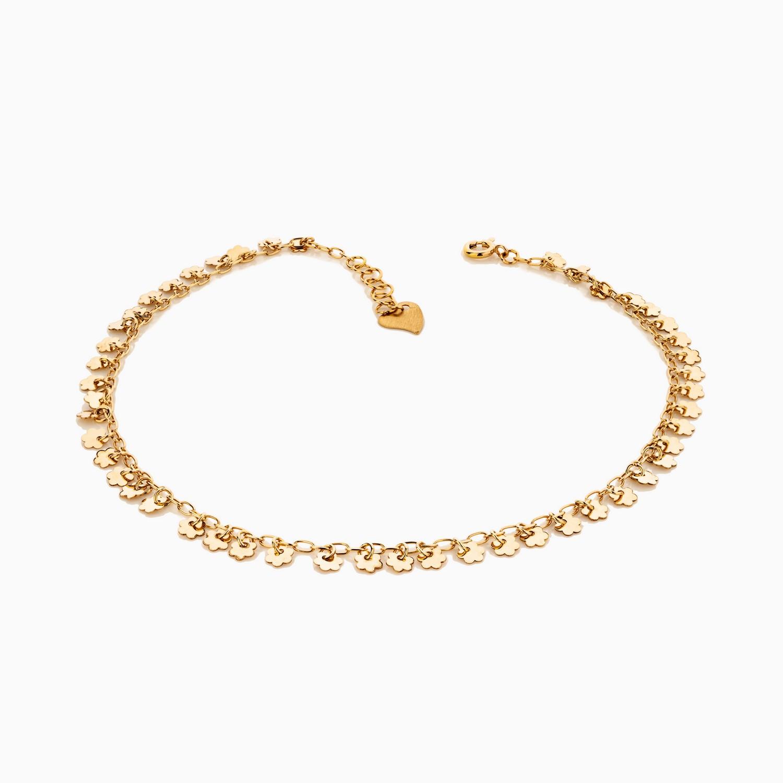 پابند طلا 18 عیار زنانه زنجیری مدل آویز گل کد AL0064