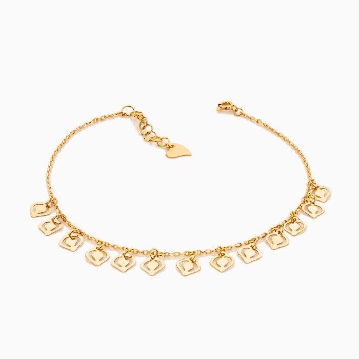 پابند طلا 18 عیار زنانه زنجیری مدل آویز پولک طرح دار کد AL0066
