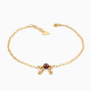 پابند طلا 18 عیار زنانه زنجیری با سنگ اتمی مدل گوی و آویز نگینی کد AL0067
