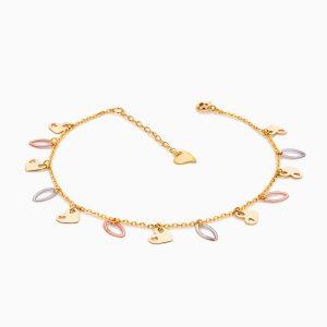 پابند طلا 18 عیار زنانه زنجیری مدل آویز پولک طرح دار کد AL0069