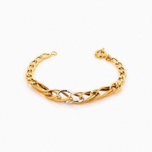 دستبند طلا 18 عیار زنانه زنجیری مدل کلاسیک طرح ترک کد BL0236