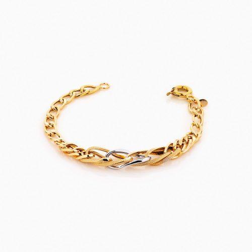 دستبند طلا 18 عیار زنانه زنجیری مدل کلاسیک طرح ترک کد BL0237