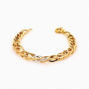 دستبند طلا 18 عیار زنانه زنجیری مدل کلاسیک طرح ترک کد BL0238