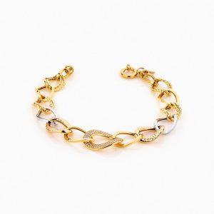 دستبند طلا 18 عیار زنانه زنجیری با نگین اتمی مدل کلاسیک طرح ترک کد BL0241