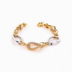 دستبند طلا 18 عیار زنانه زنجیری با نگین اتمی مدل کلاسیک طرح ترک کد BL0242