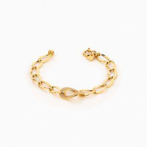دستبند طلا 18 عیار زنانه زنجیری با نگین اتمی مدل کلاسیک طرح ترک کد BL0243