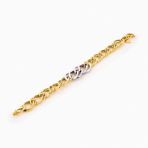 دستبند طلا 18 عیار زنانه زنجیری مدل کلاسیک طرح ترک کد BL0244