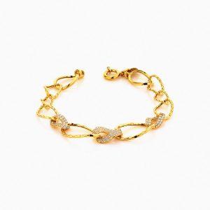 دستبند طلا 18 عیار زنانه زنجیری با نگین اتمی مدل کلاسیک طرح ترک کد BL0245