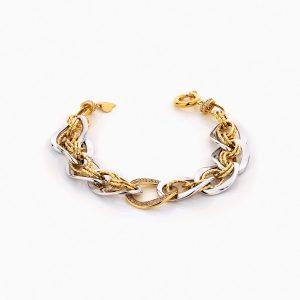 دستبند طلا 18 عیار زنانه زنجیری با نگین اتمی مدل کلاسیک طرح ترک کد BL0246