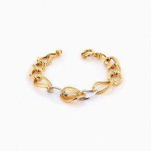 دستبند طلا 18 عیار زنانه زنجیری با نگین اتمی مدل کلاسیک طرح ترک کد BL0247