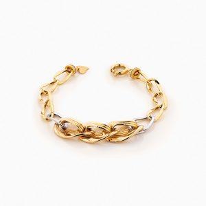 دستبند طلا 18 عیار زنانه زنجیری مدل کلاسیک طرح ترک کد BL0248