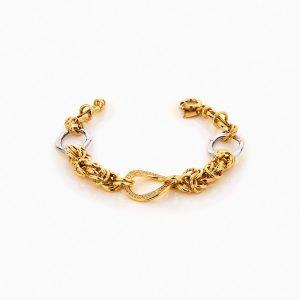 دستبند طلا 18 عیار زنانه زنجیری با نگین اتمی مدل کلاسیک طرح ترک کد BL0249