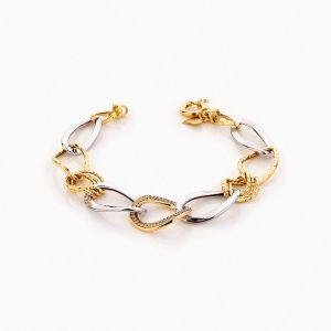 دستبند طلا 18 عیار زنانه زنجیری با نگین اتمی مدل کلاسیک طرح ترک کد BL0250
