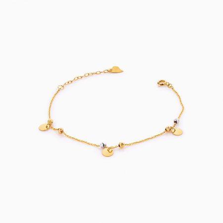 دستبند طلا 18 عیار زنانه زنجیری مدل گوی و آویز پولک کد BL0268