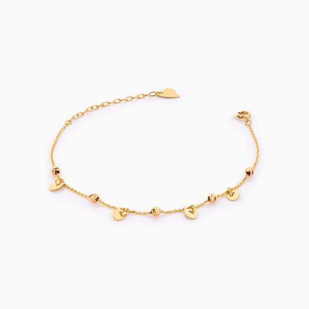 دستبند طلا 18 عیار زنانه زنجیری مدل گوی و آویز پولک کد BL0269