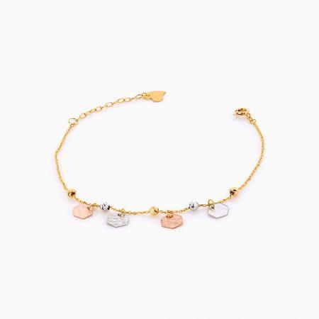 دستبند طلا 18 عیار زنانه زنجیری مدل گوی و آویز شش ضلعی کد BL0270