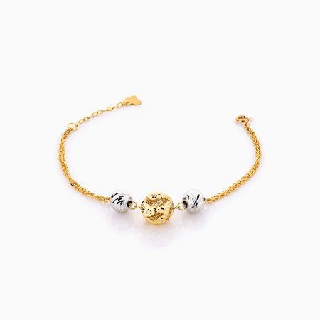 دستبند طلا 18 عیار زنانه زنجیری مدل سه گوی کد BL0271